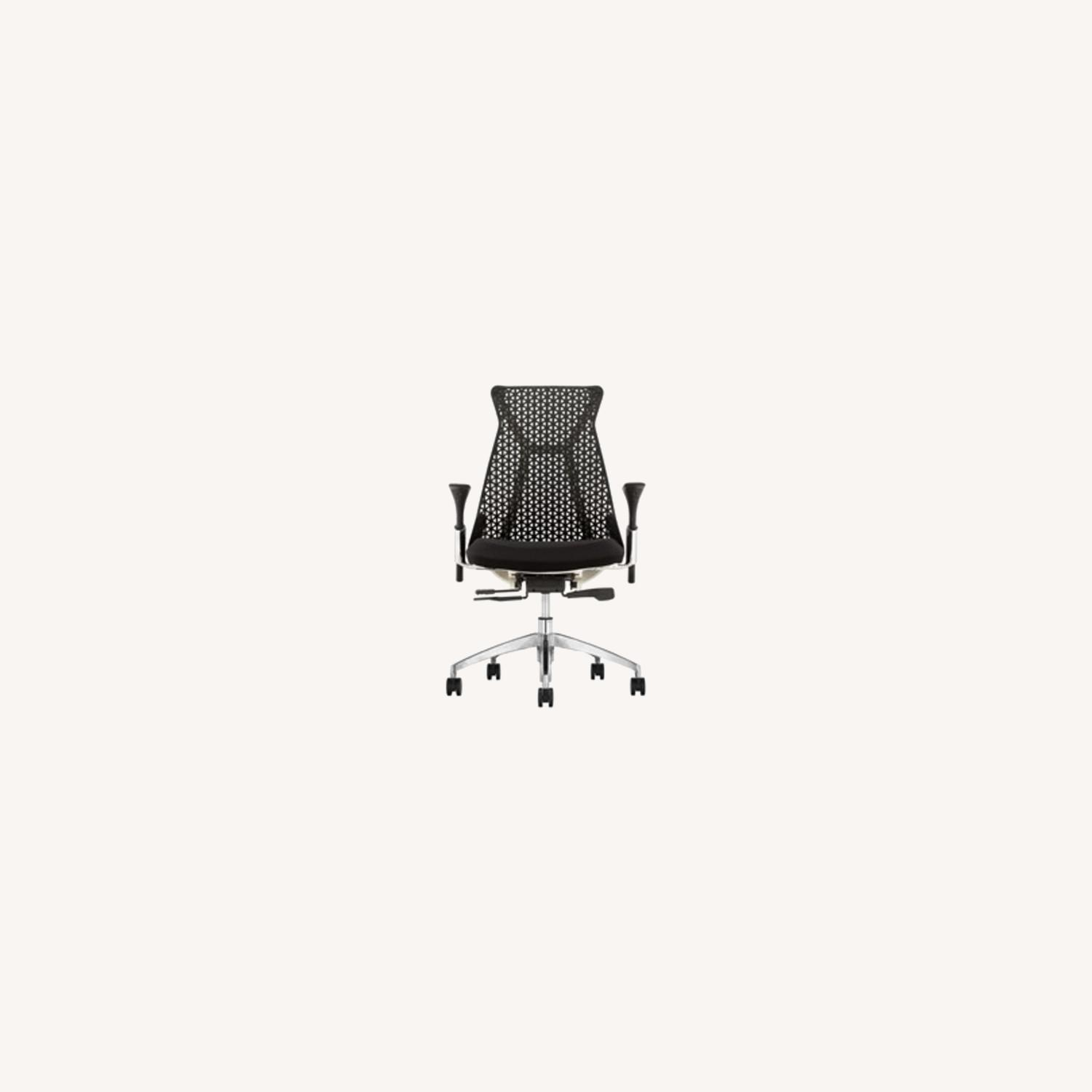 Adjustable Office Chair In Black Mesh Back  - image-3