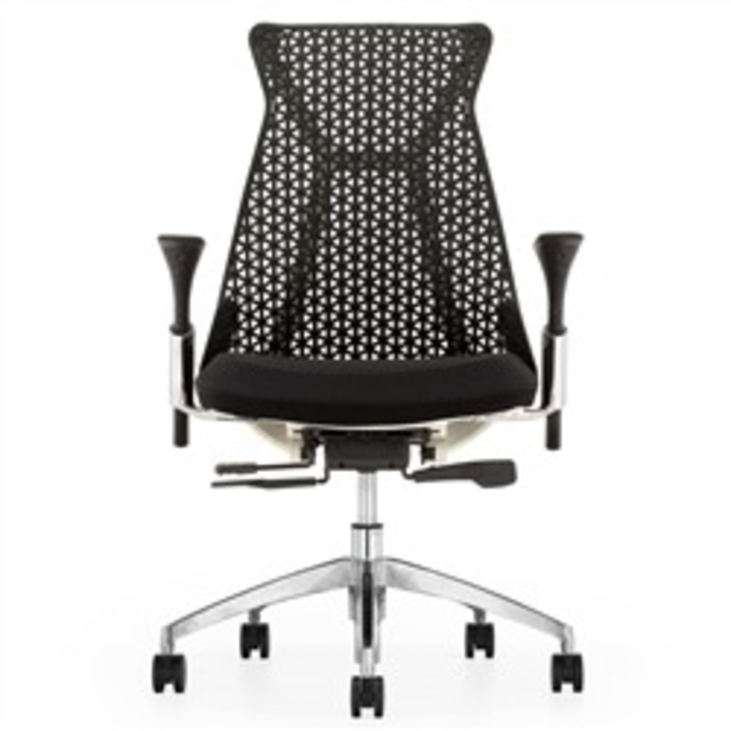 Adjustable Office Chair In Black Mesh Back  - image-1
