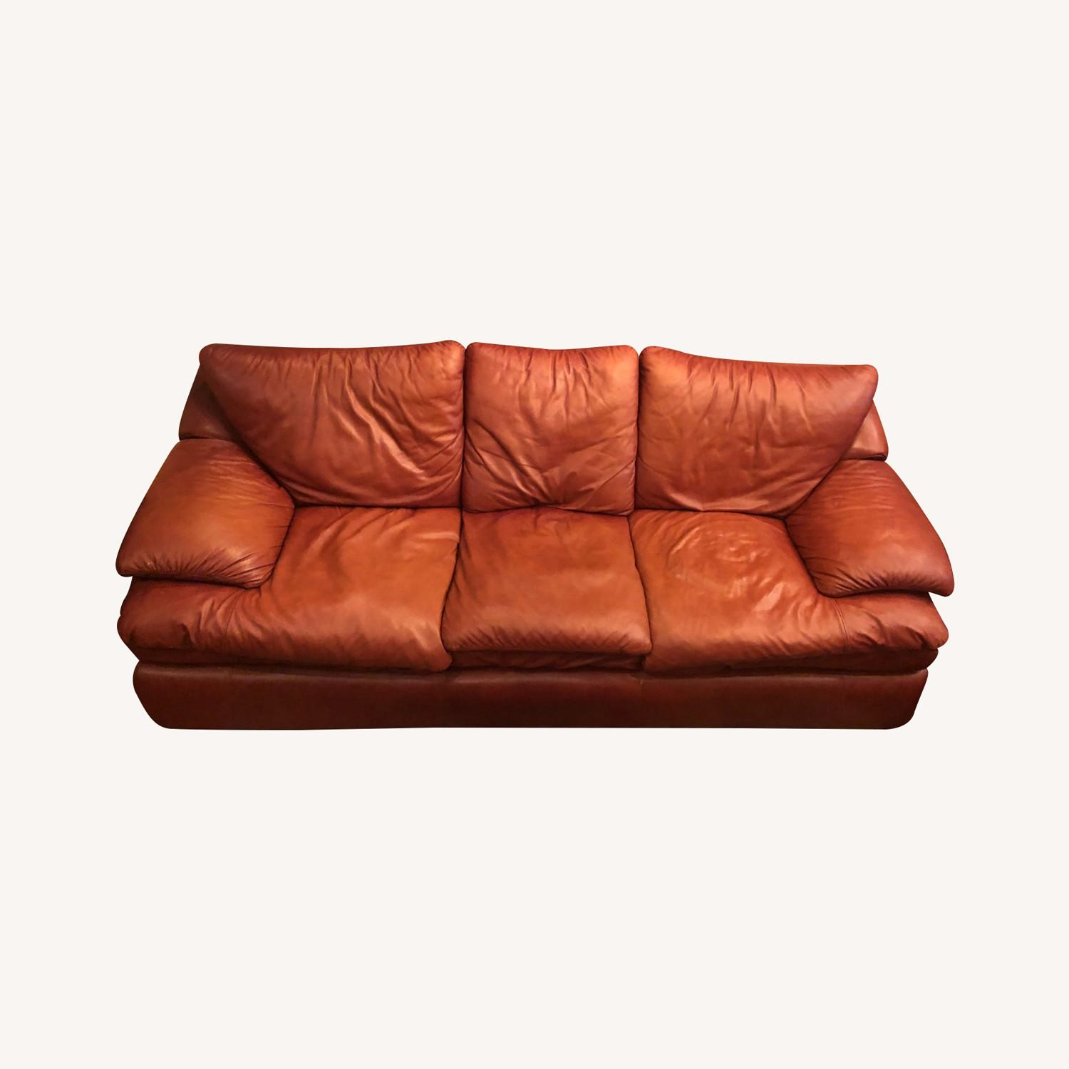 Brown Leather Livingston Sofa Bed - image-0