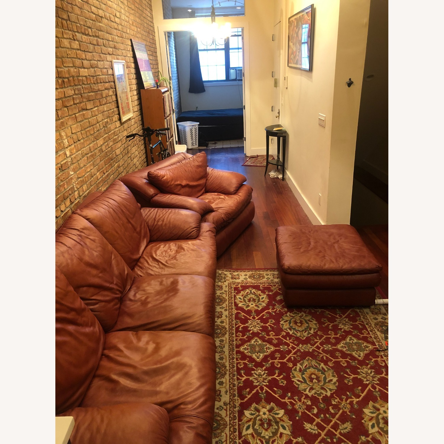 Brown Leather Livingston Sofa Bed - image-1