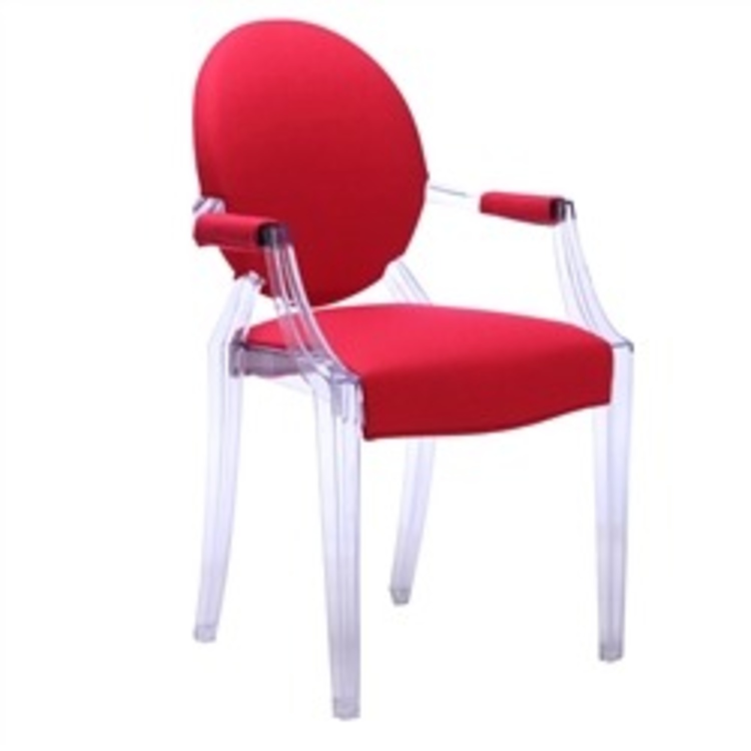 Armchair In Red Fabric & Acrylic Base - image-2