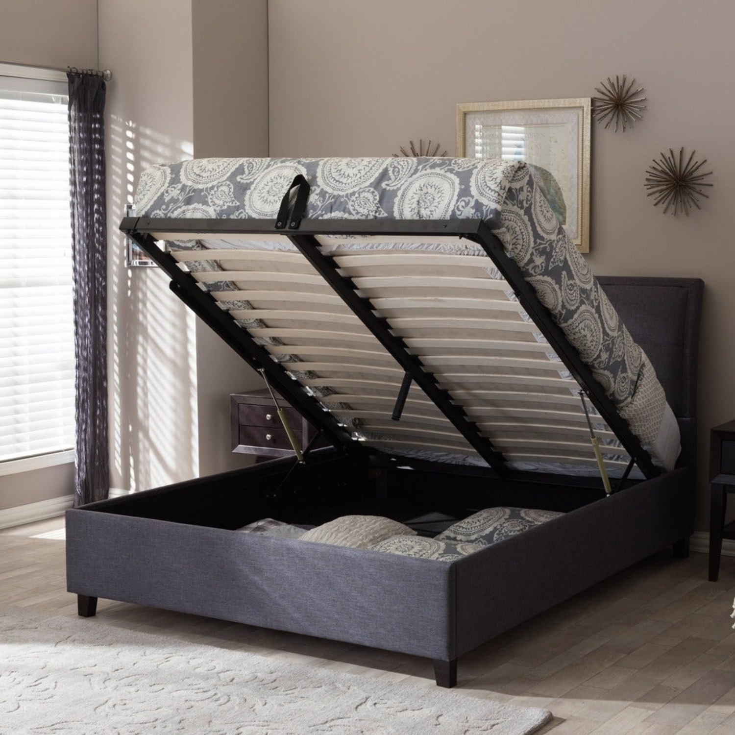 Queen Charcoal Tufted Storage Bed - image-4
