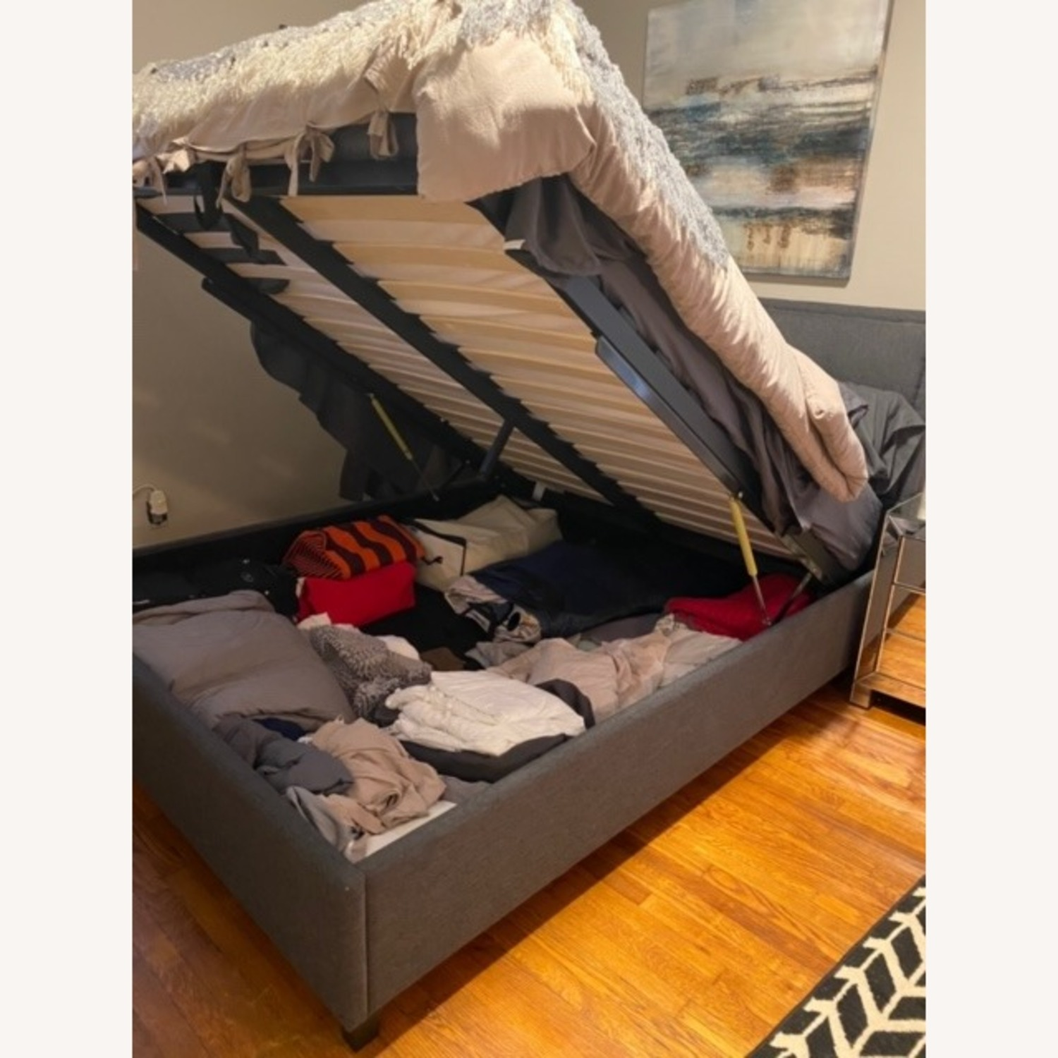 Queen Charcoal Tufted Storage Bed - image-2