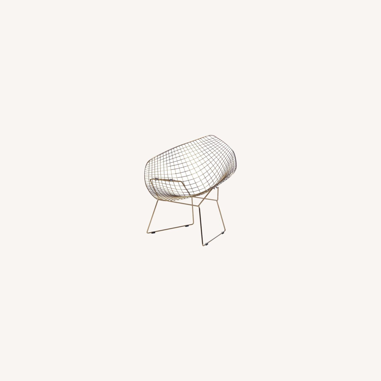 Diamond Chair In Gold Wire W/ Black Leatherette - image-3