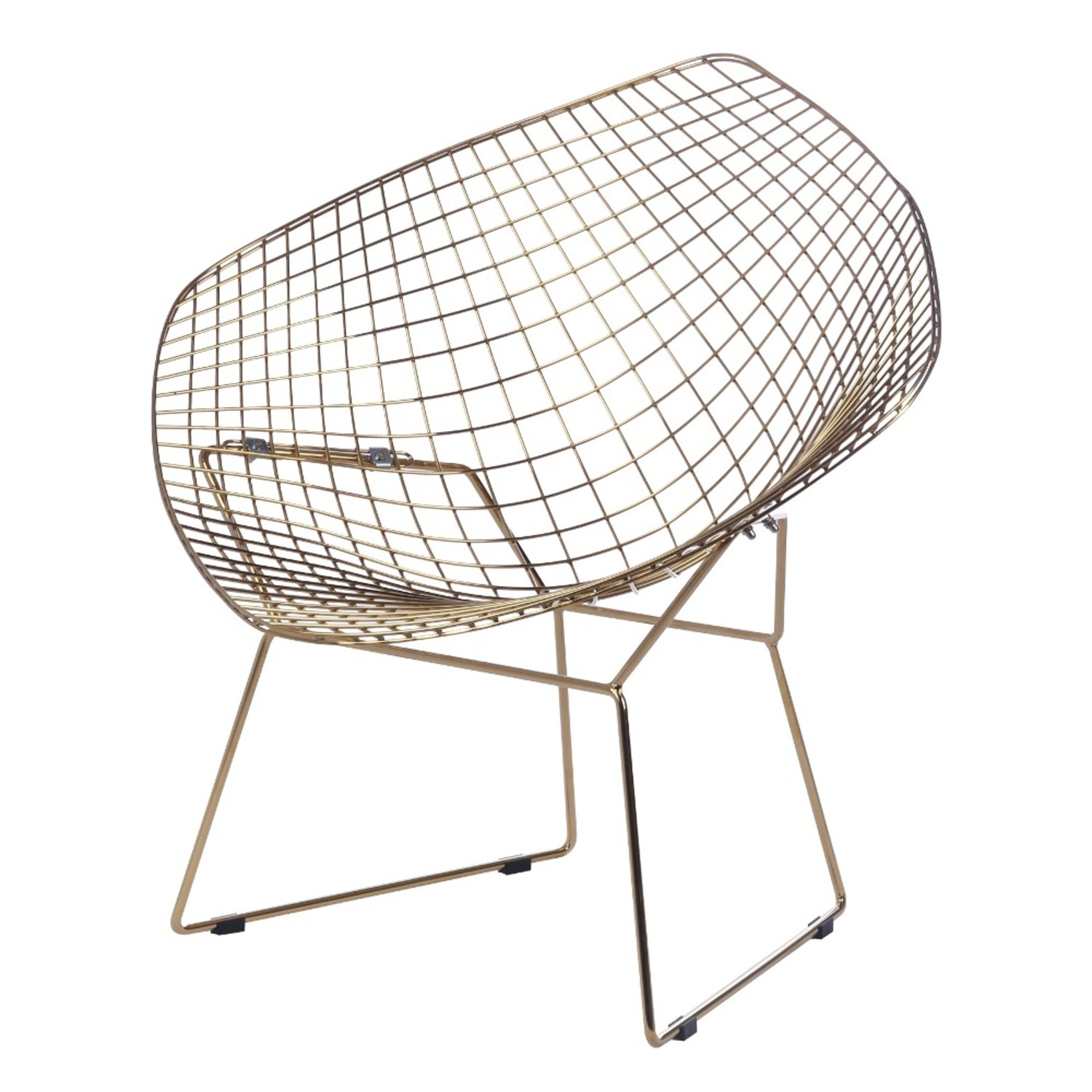 Diamond Chair In Gold Wire W/ Black Leatherette - image-1