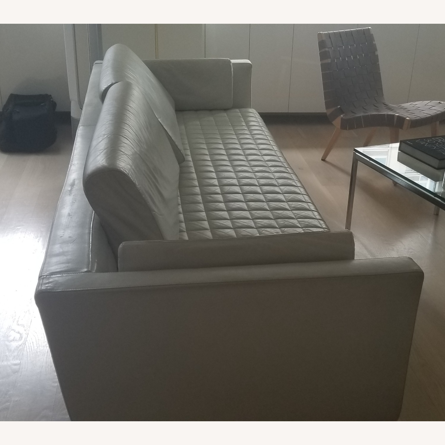 Palau White Leather Couch - image-1