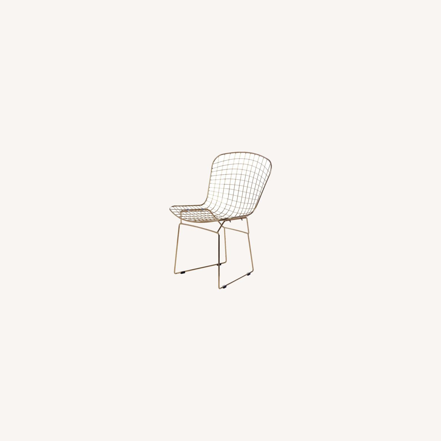 Side Chair In Gold Wire W/ Black Leatherette - image-3