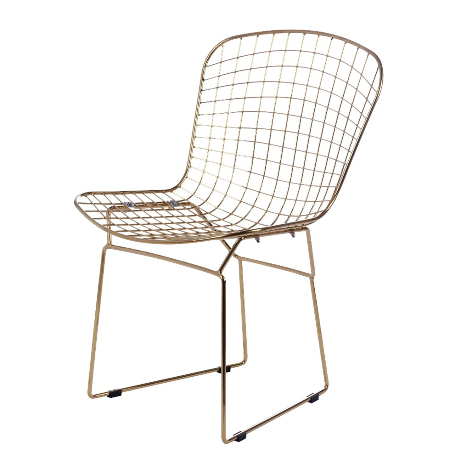 Side Chair In Gold Wire W/ Black Leatherette - image-1