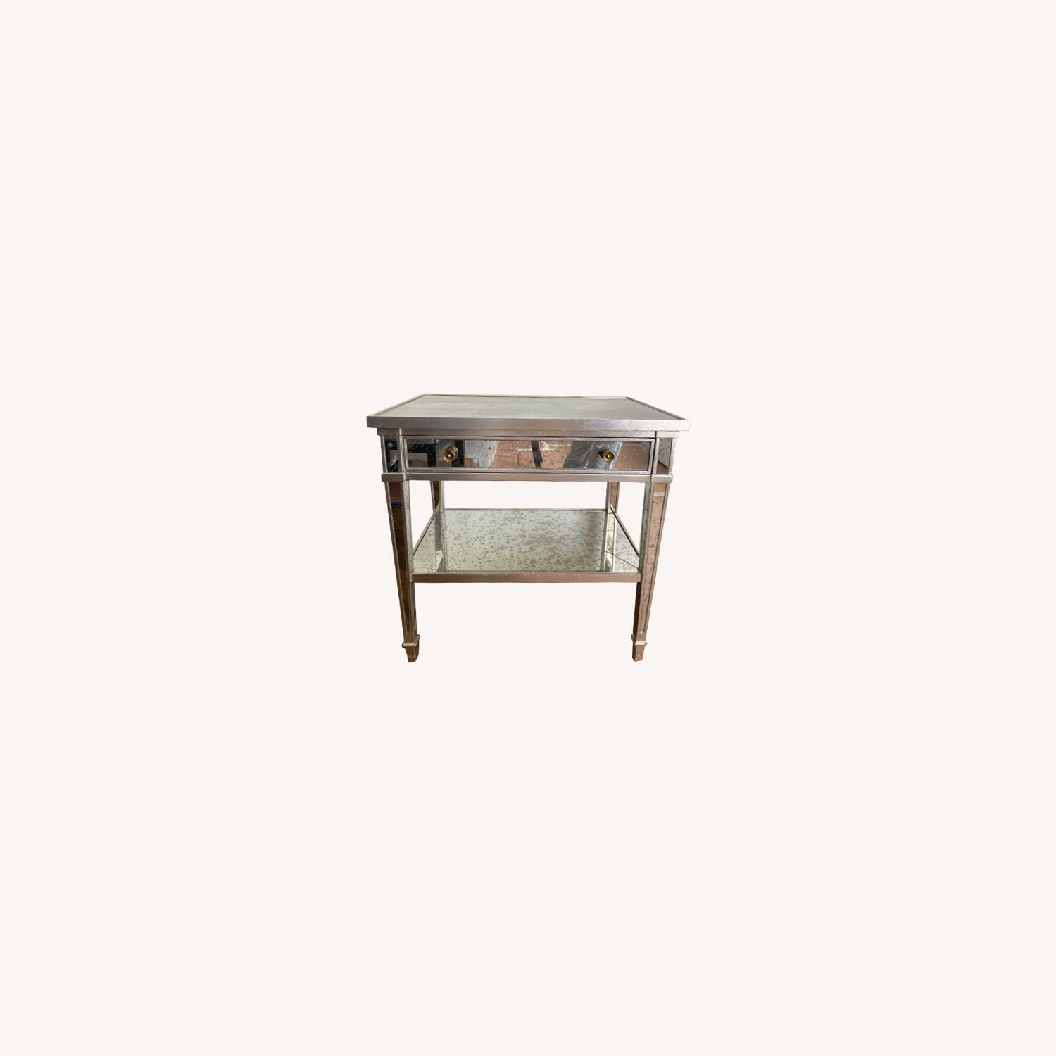 Two Julia Gray Antique Mirrored Nightstands - image-0