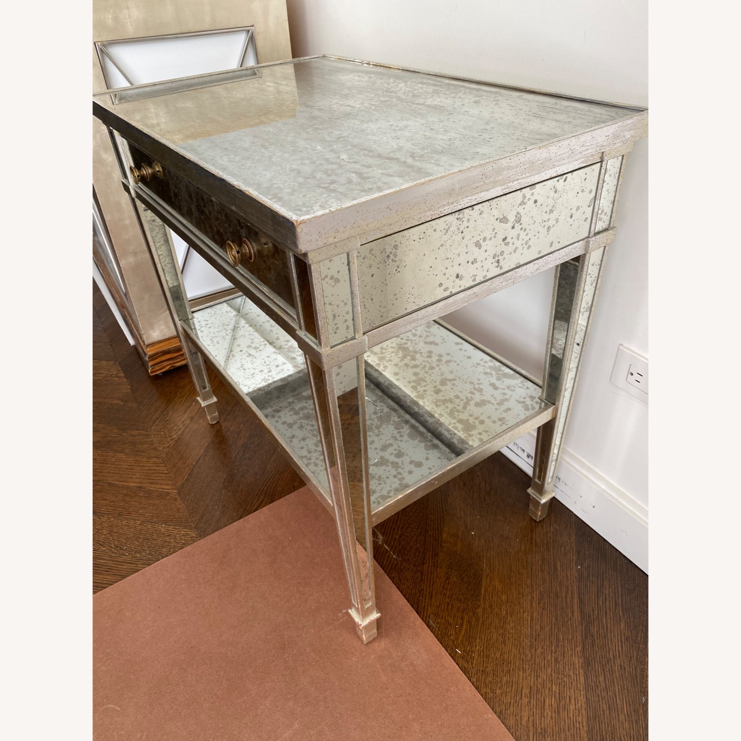 Two Julia Gray Antique Mirrored Nightstands - image-3