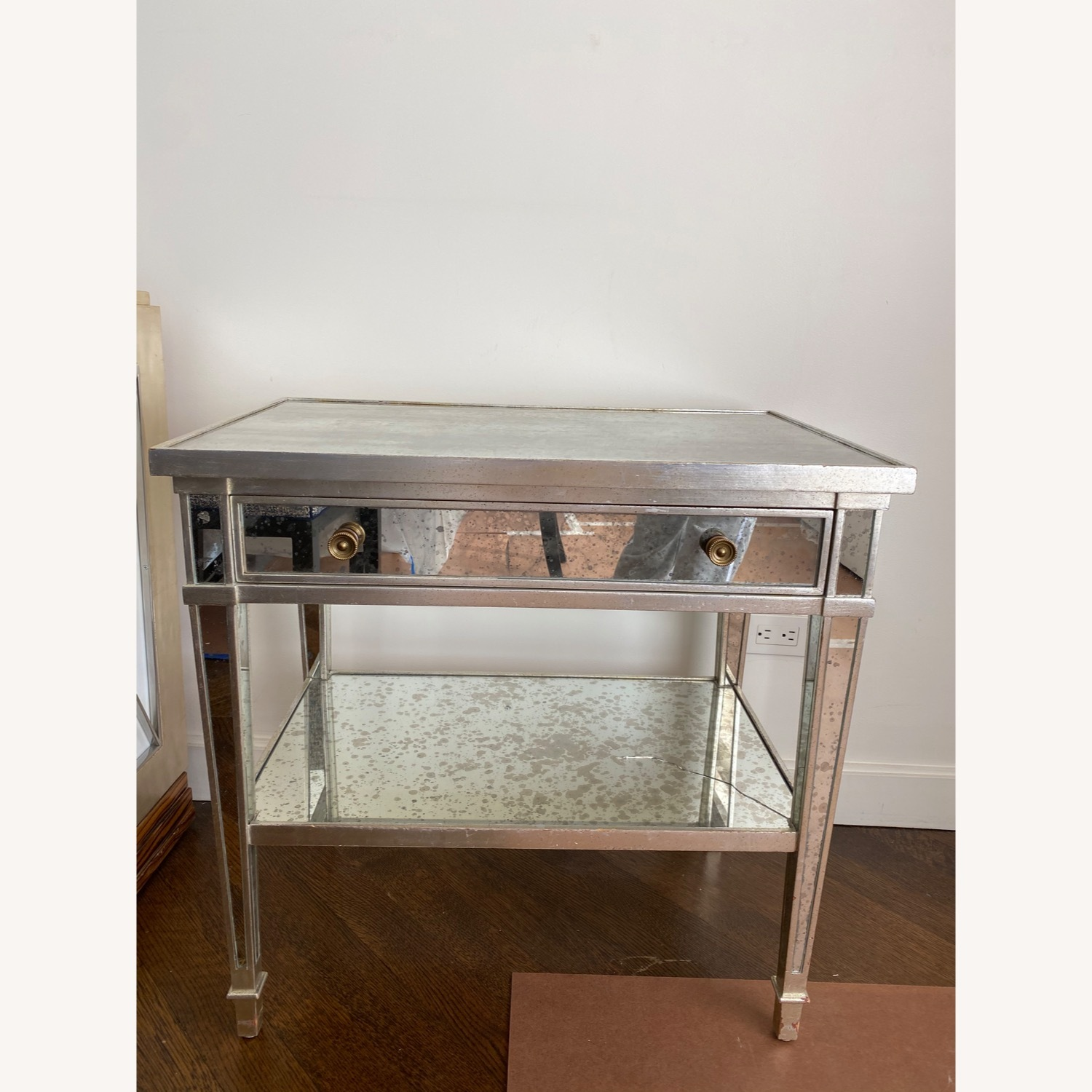 Two Julia Gray Antique Mirrored Nightstands - image-1