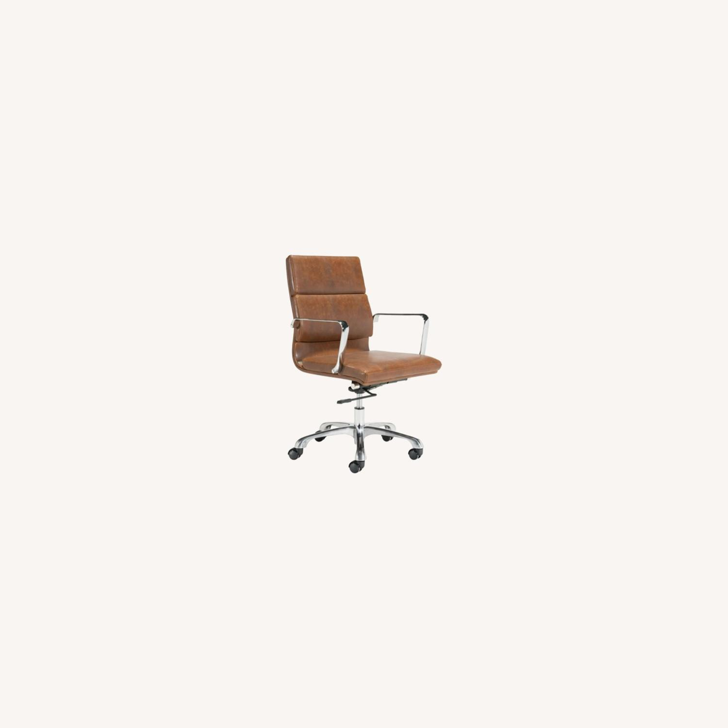 Office Chair In Brown Faux Leather Seat & Back - image-4
