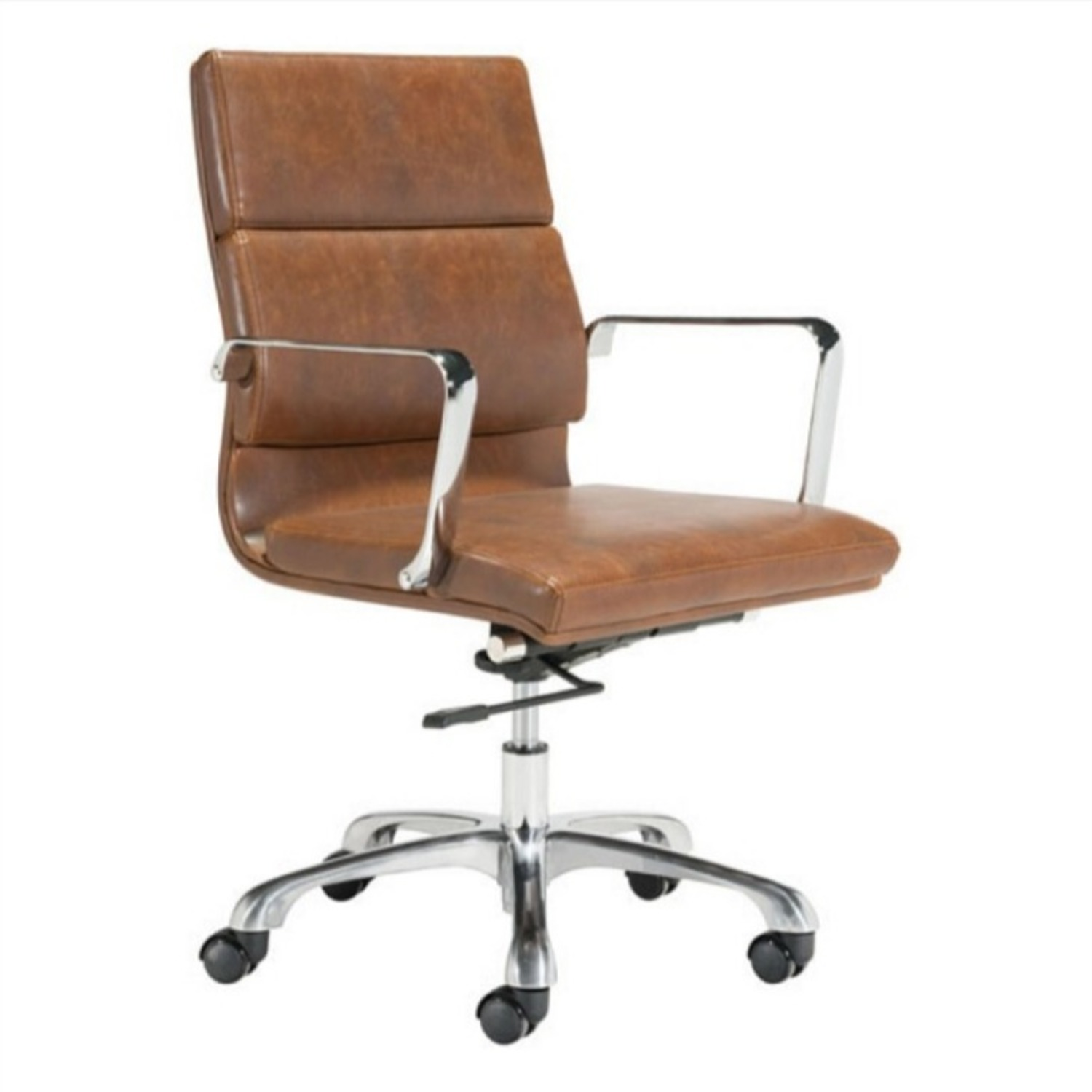 Office Chair In Brown Faux Leather Seat & Back - image-0
