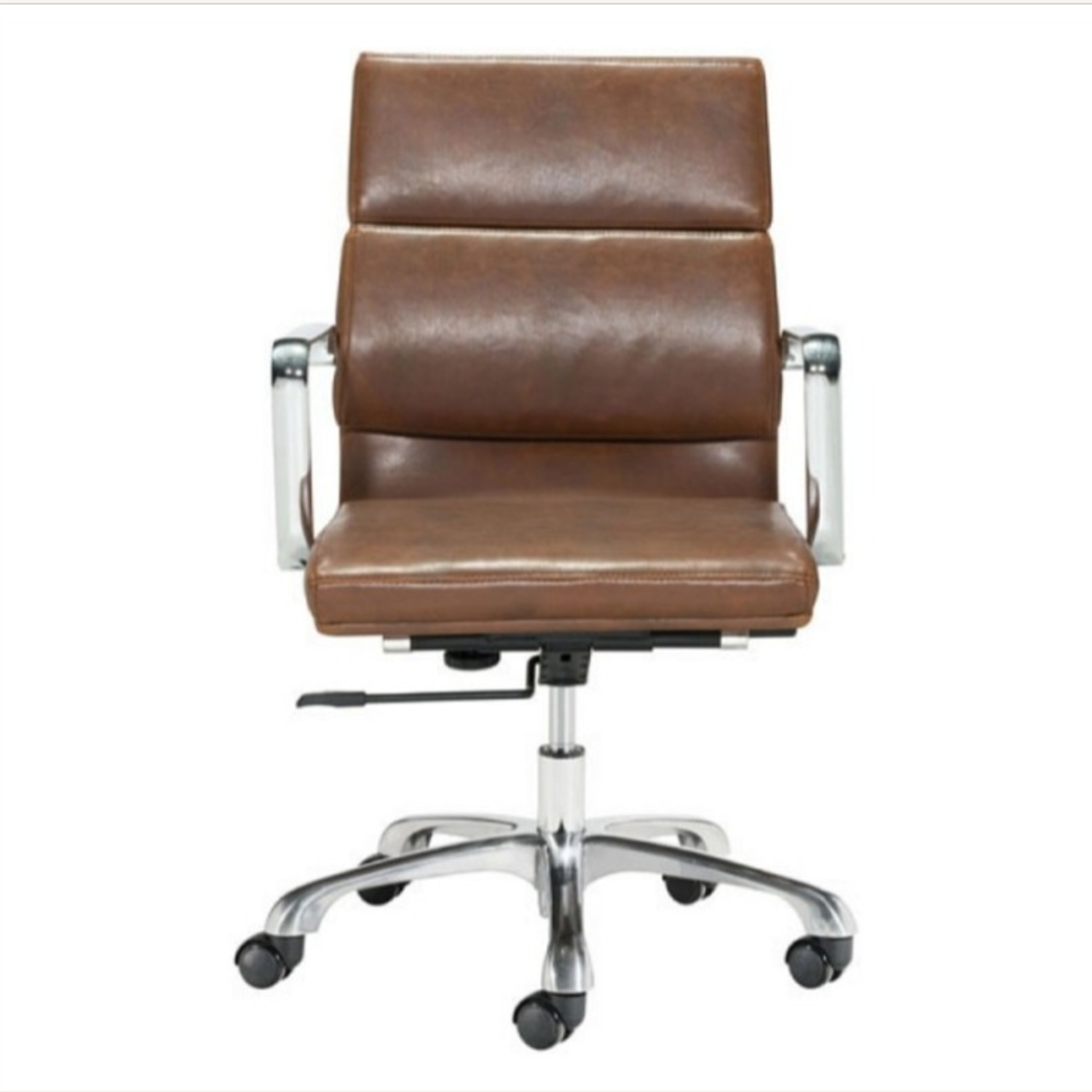 Office Chair In Brown Faux Leather Seat & Back - image-2