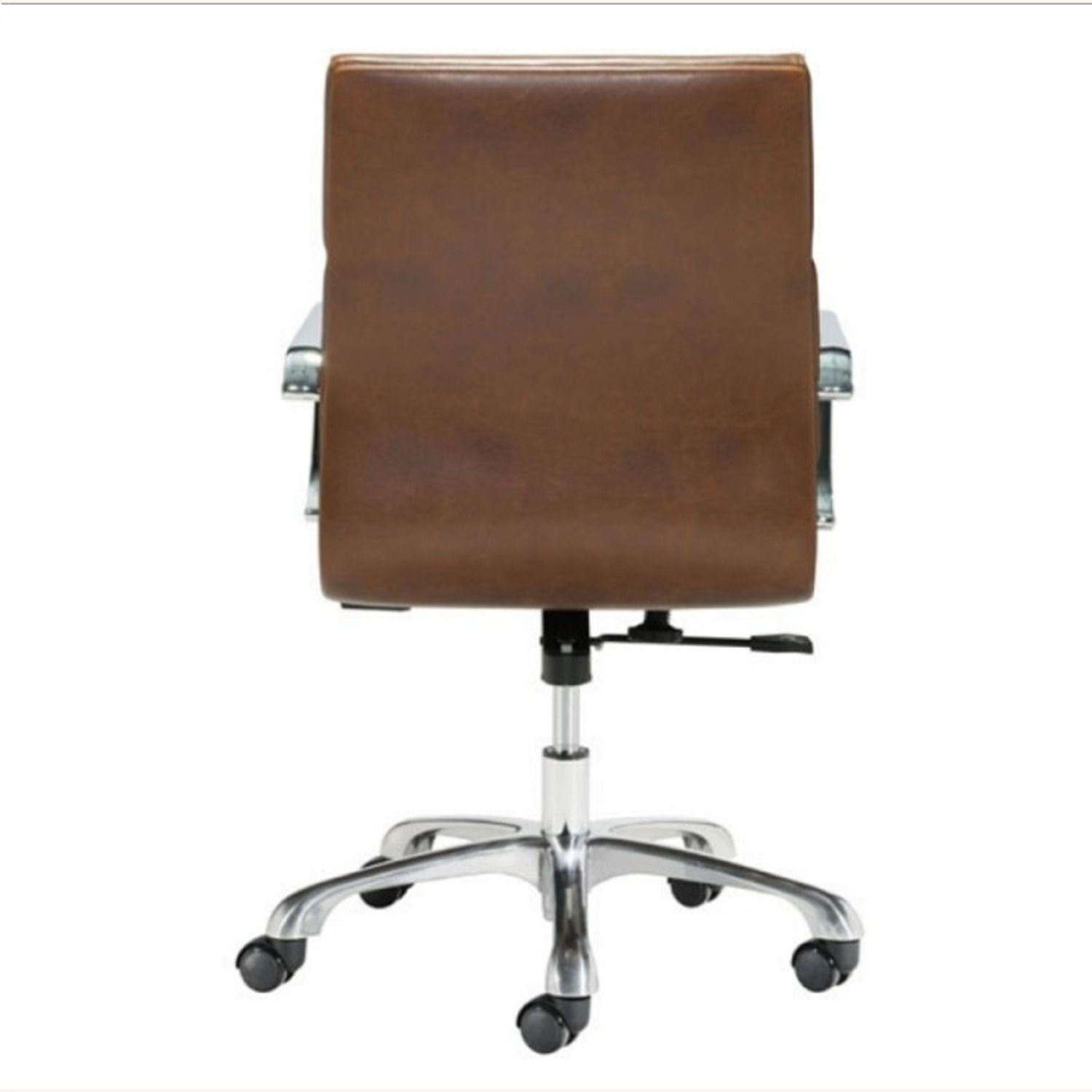 Office Chair In Brown Faux Leather Seat & Back - image-3