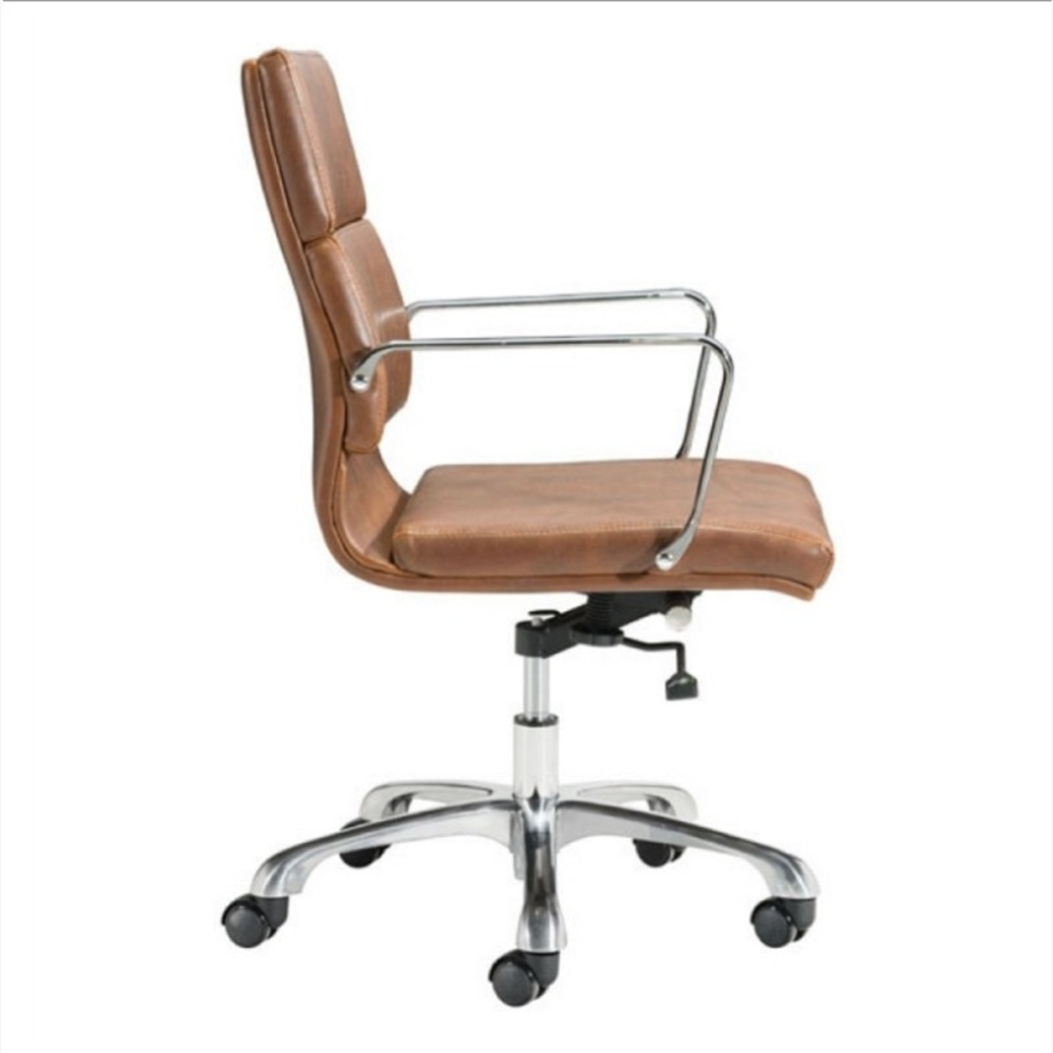 Office Chair In Brown Faux Leather Seat & Back - image-1