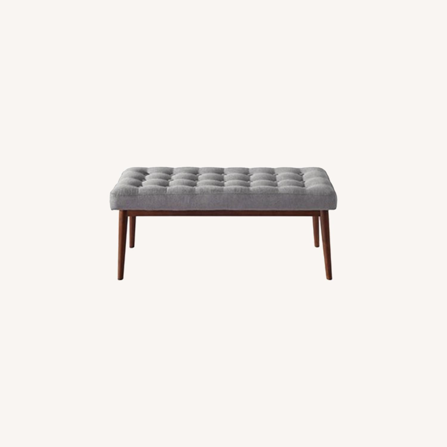 Bench In Gray Cotton Crafted W/ Beech Wood Base - image-4