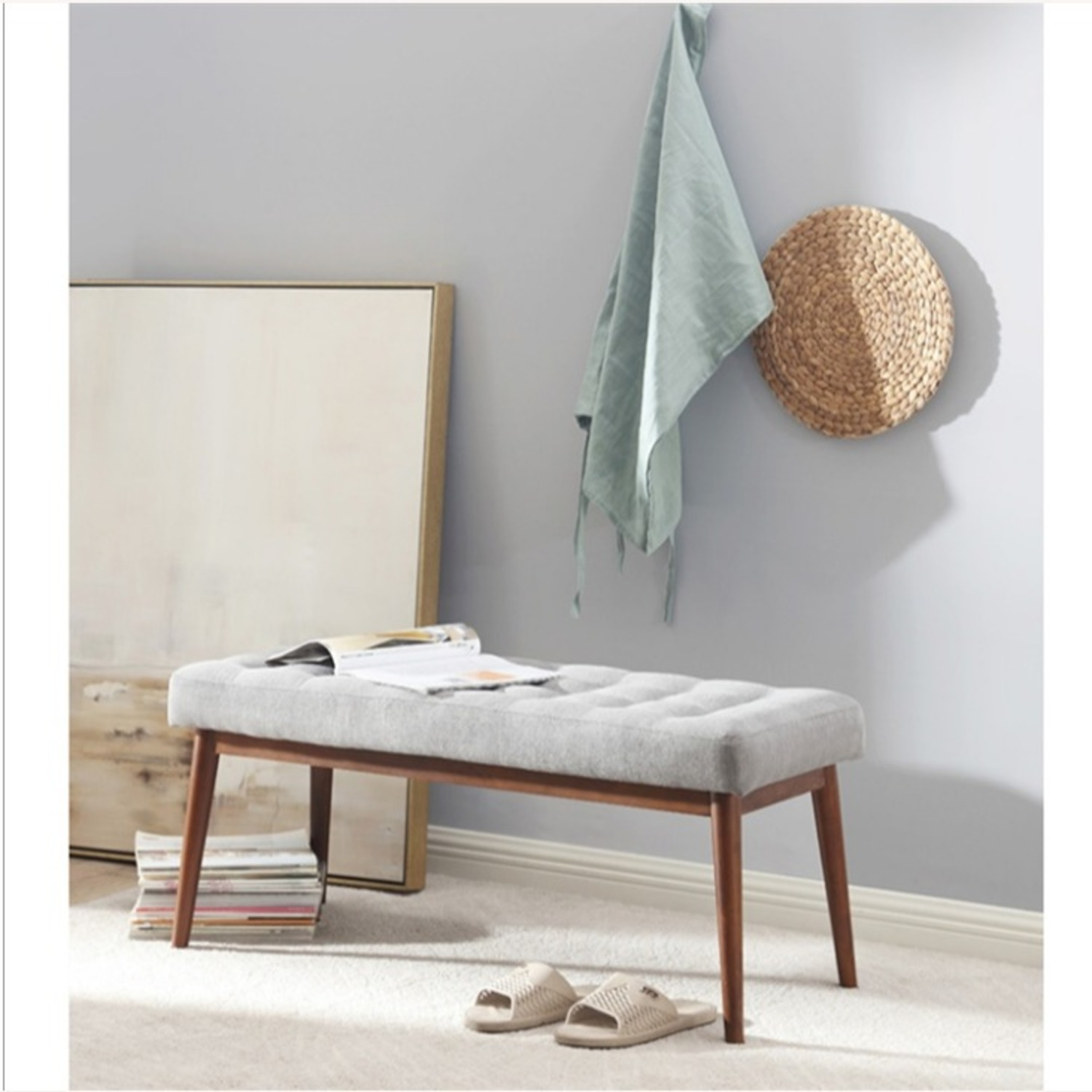 Bench In Gray Cotton Crafted W/ Beech Wood Base - image-2
