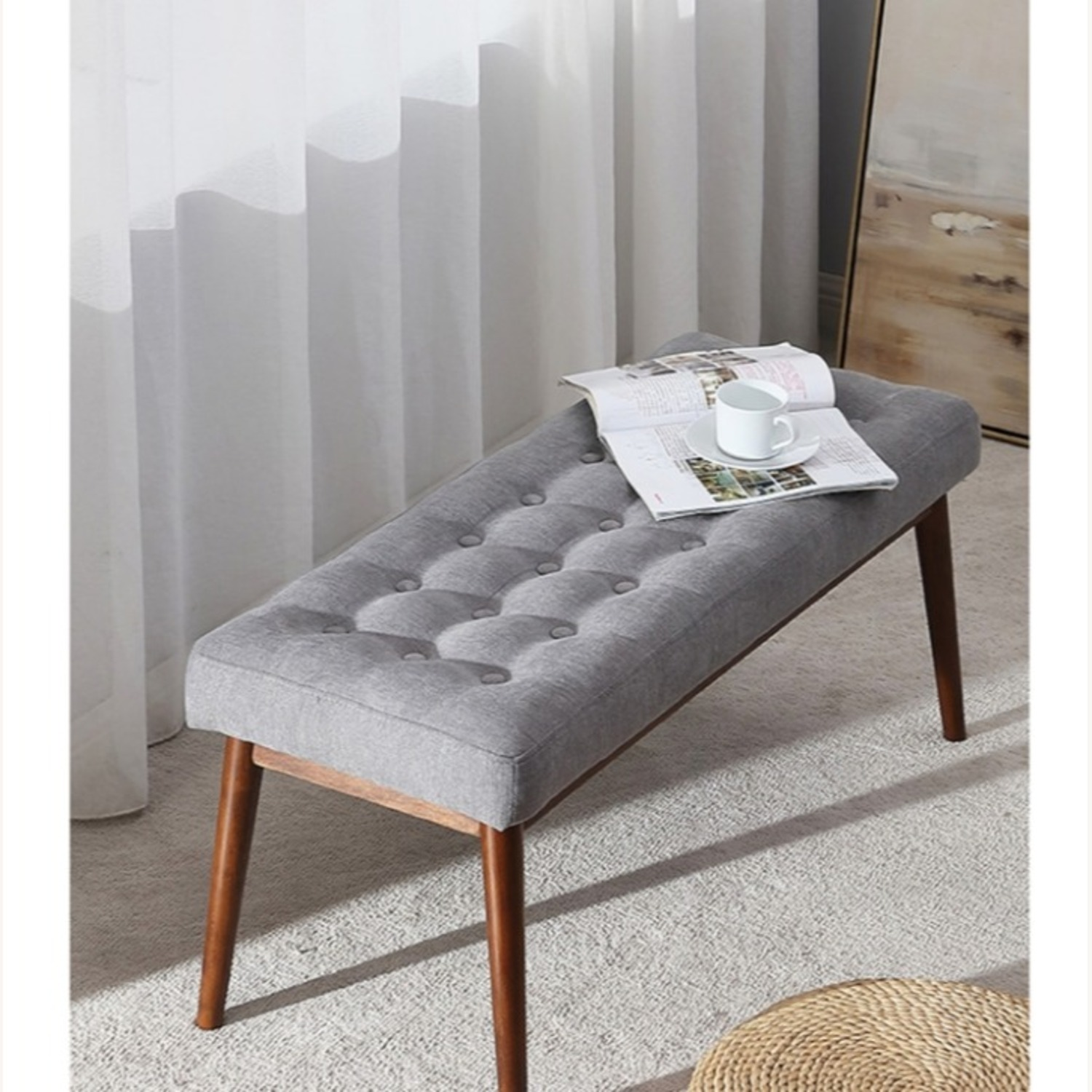 Bench In Gray Cotton Crafted W/ Beech Wood Base - image-1