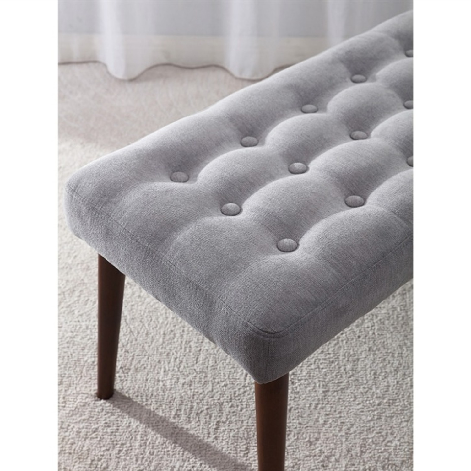 Bench In Gray Cotton Crafted W/ Beech Wood Base - image-3