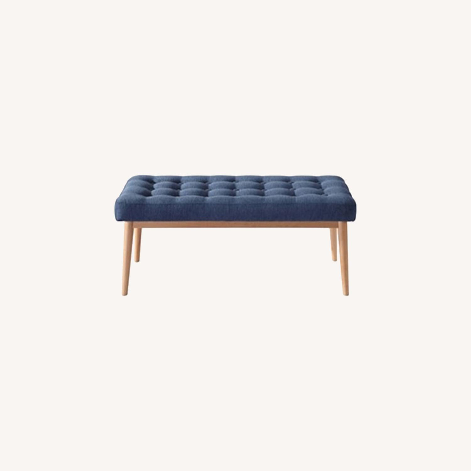 Bench In Blue Cotton Crafted W/ Beech Wood Base - image-7
