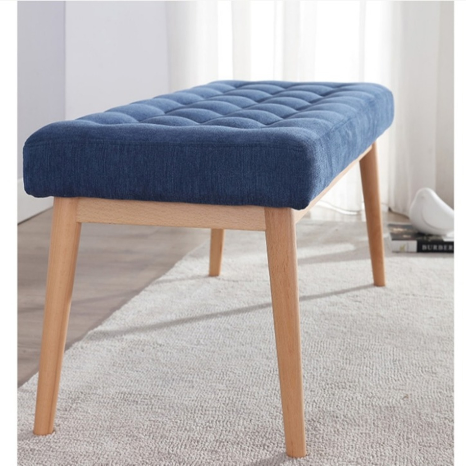 Bench In Blue Cotton Crafted W/ Beech Wood Base - image-2