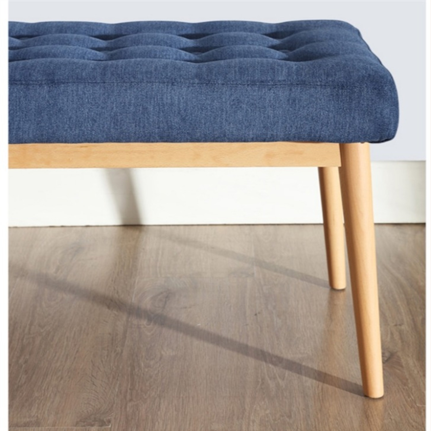 Bench In Blue Cotton Crafted W/ Beech Wood Base - image-3