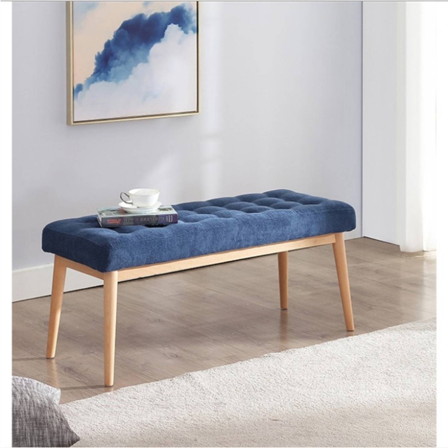 Bench In Blue Cotton Crafted W/ Beech Wood Base - image-1