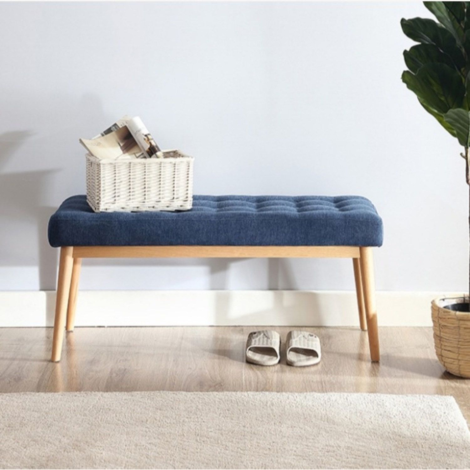 Bench In Blue Cotton Crafted W/ Beech Wood Base - image-5