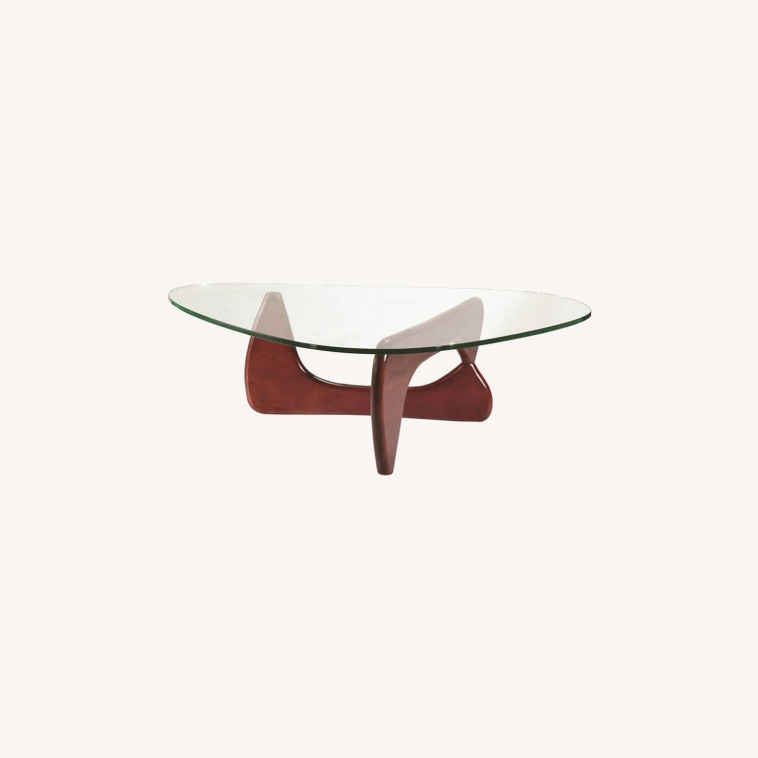 Coffee Table In Cherry Rubberwood W/ Glass Top - image-3