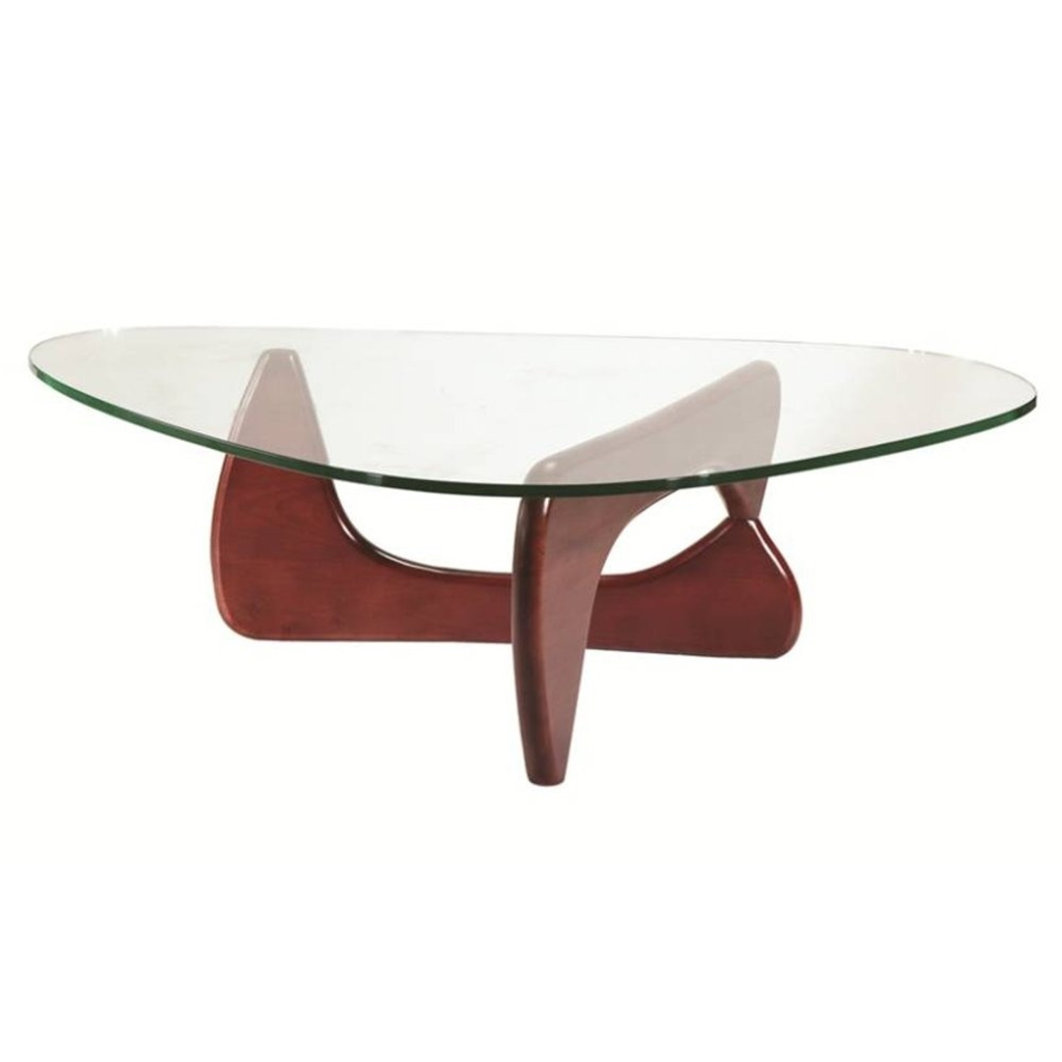 Coffee Table In Cherry Rubberwood W/ Glass Top - image-0