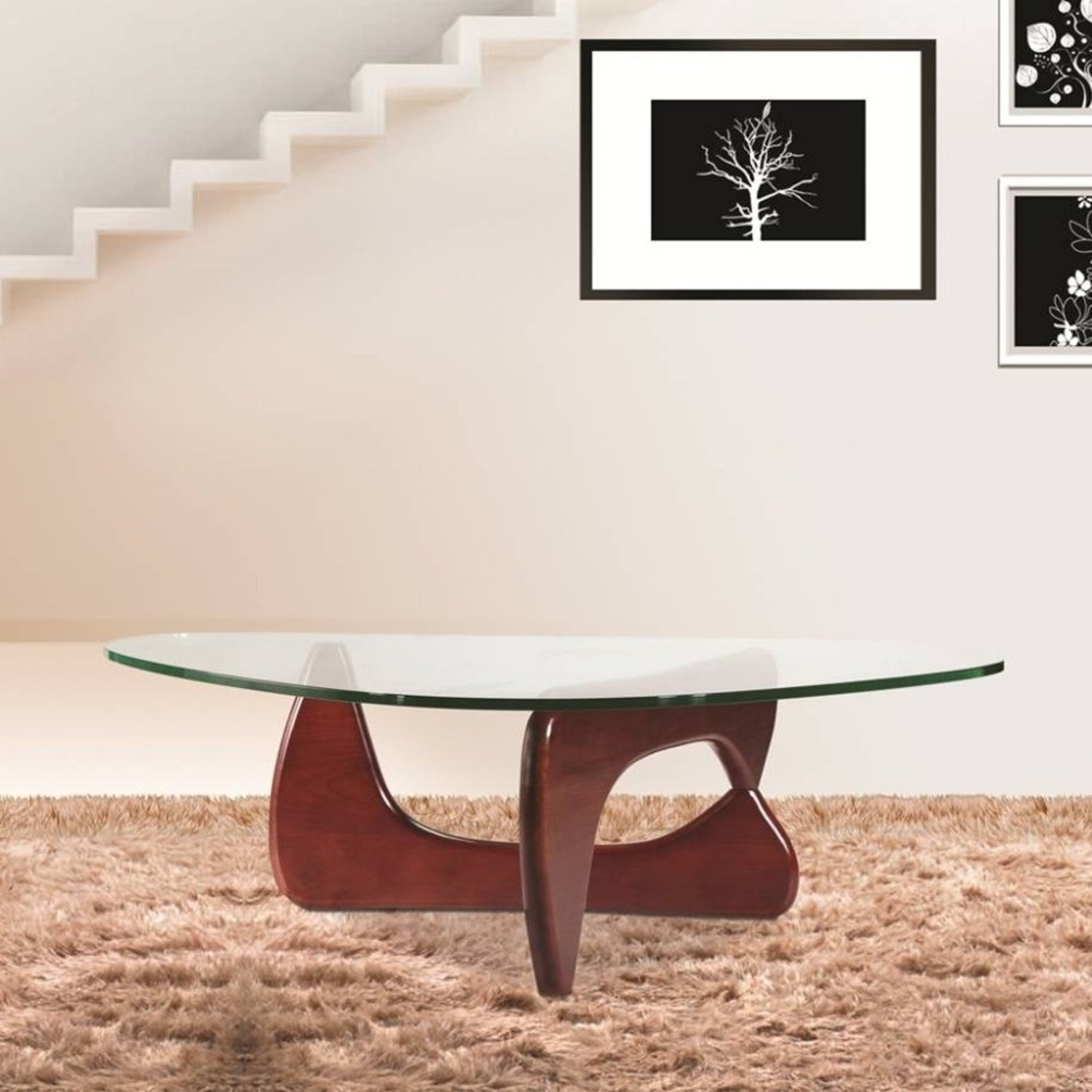 Coffee Table In Cherry Rubberwood W/ Glass Top - image-1