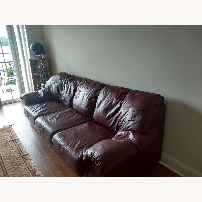 Large Maroon Leather Sofa - image-1