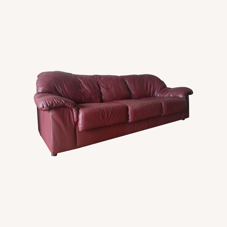 Large Maroon Leather Sofa - image-0