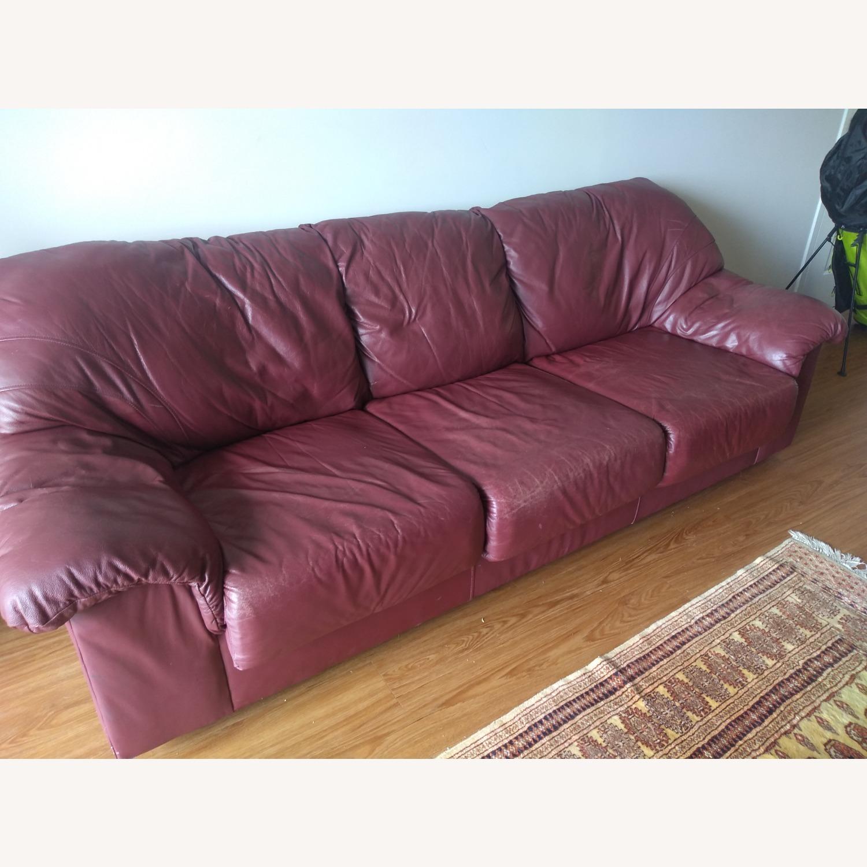 Large Maroon Leather Sofa - image-3
