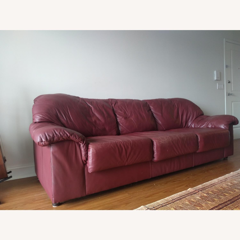 Large Maroon Leather Sofa - image-2