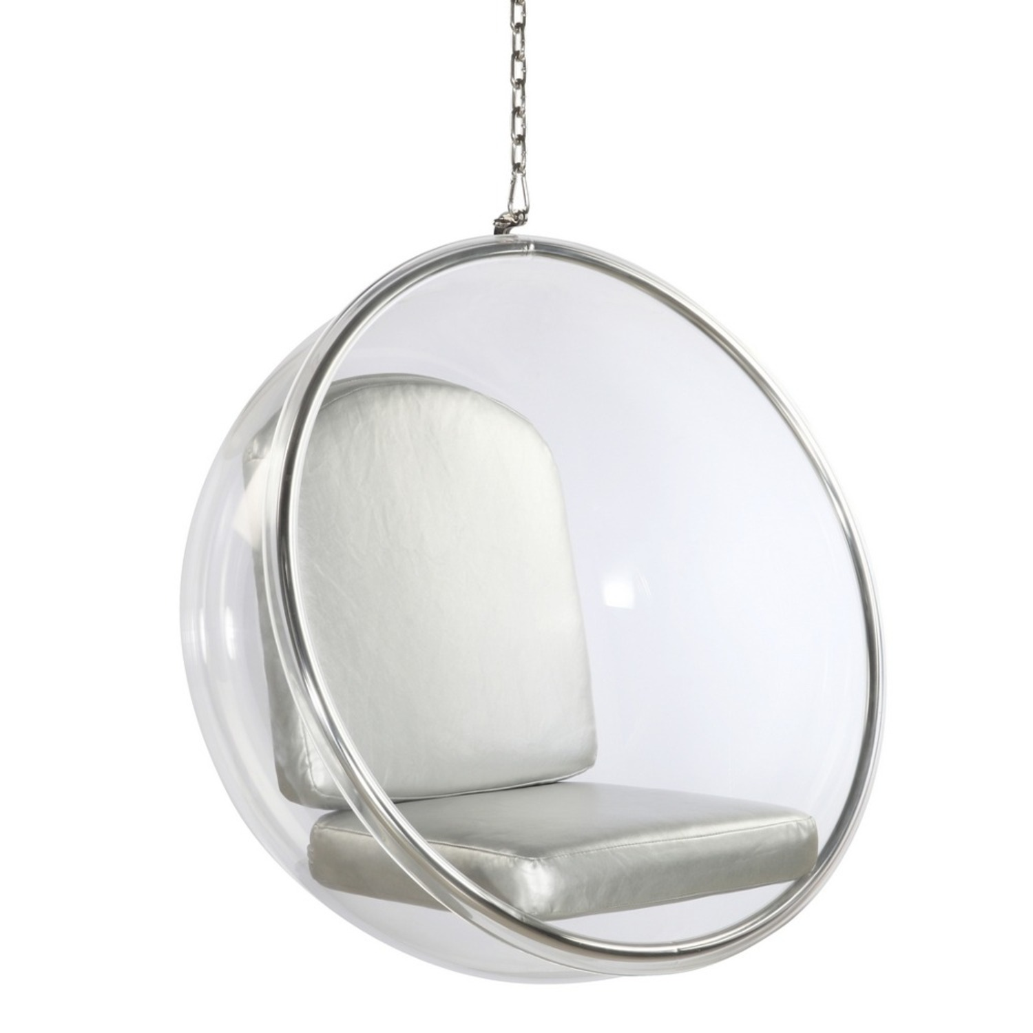 Hanging Chair In Clear Acrylic & Silver PU Leather - image-0