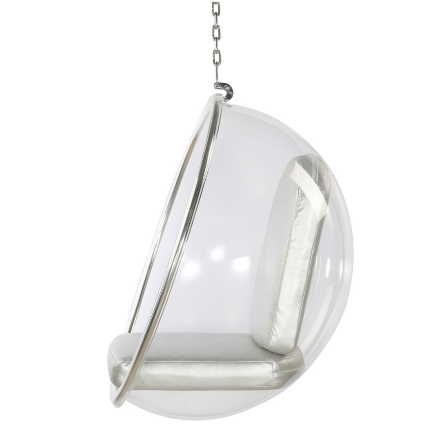 Hanging Chair In Clear Acrylic & Silver PU Leather - image-3