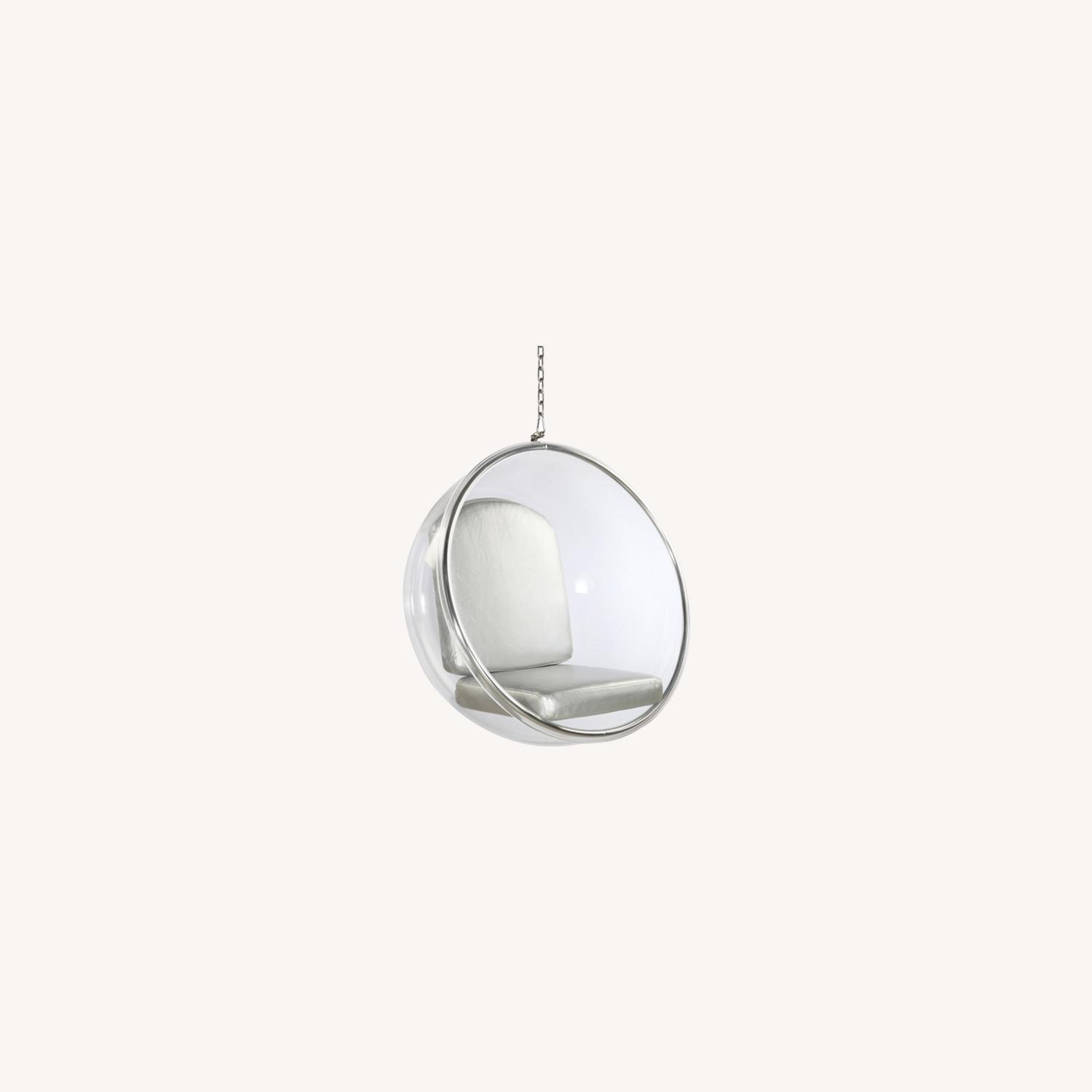 Hanging Chair In Clear Acrylic & Silver PU Leather - image-7