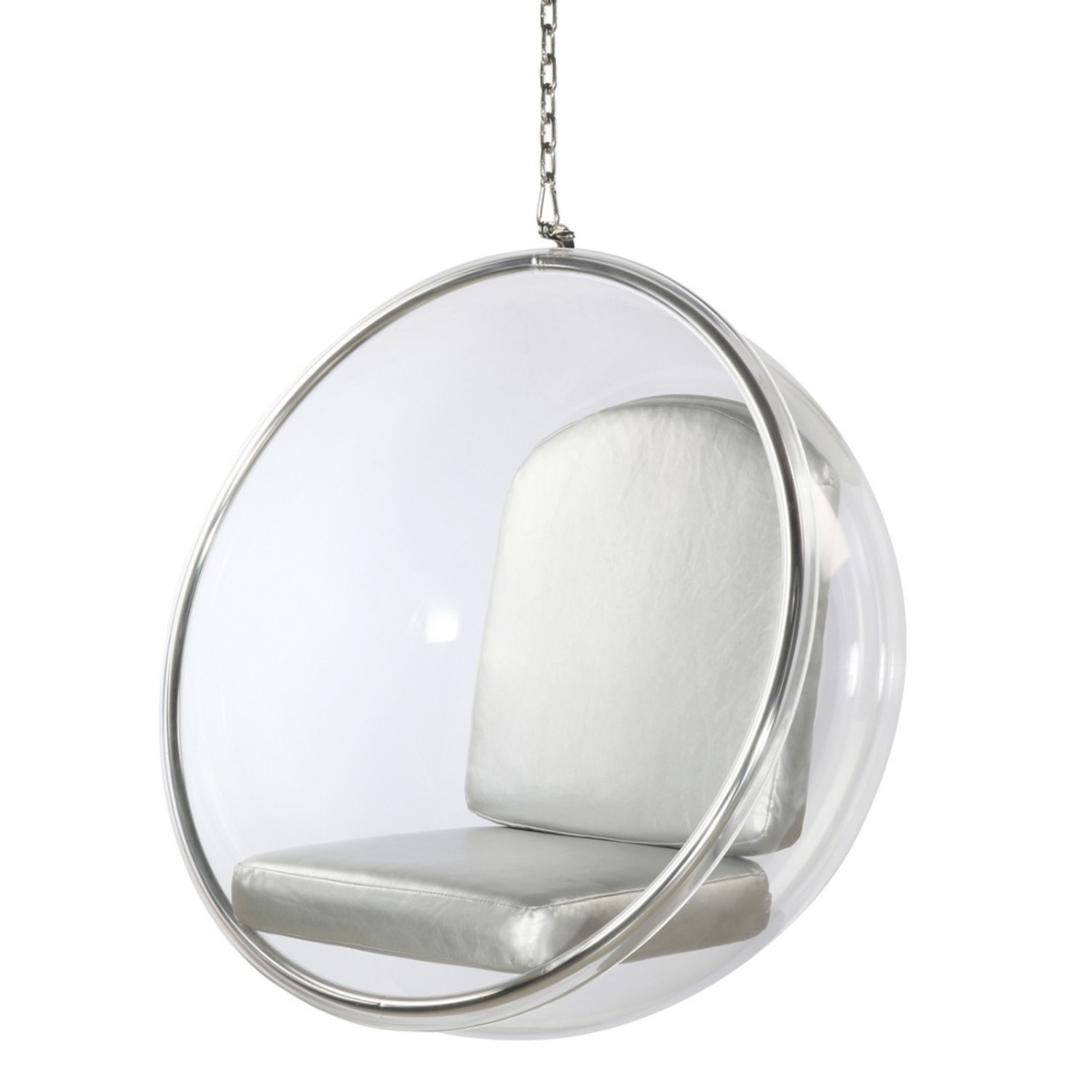 Hanging Chair In Clear Acrylic & Silver PU Leather - image-4