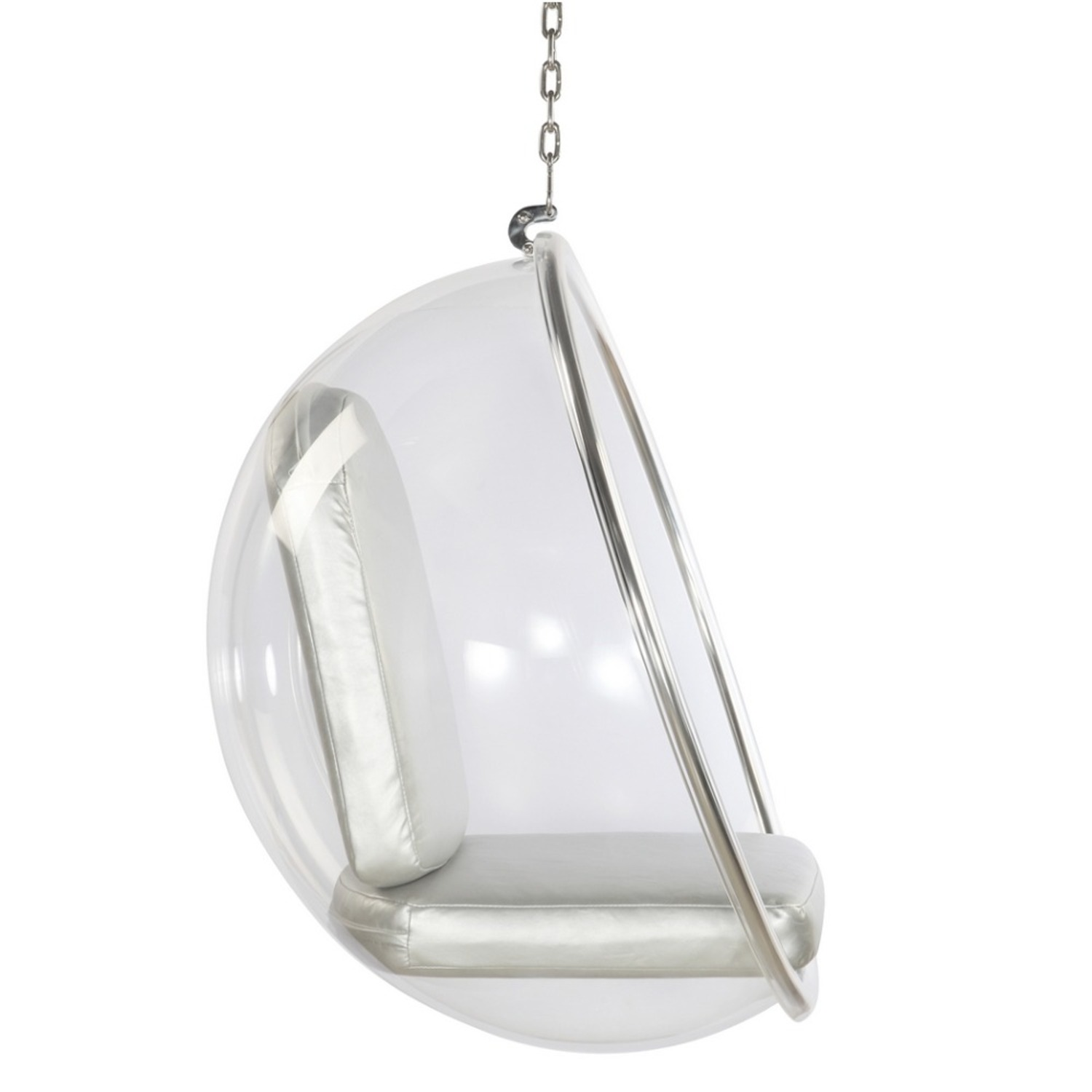 Hanging Chair In Clear Acrylic & Silver PU Leather - image-1