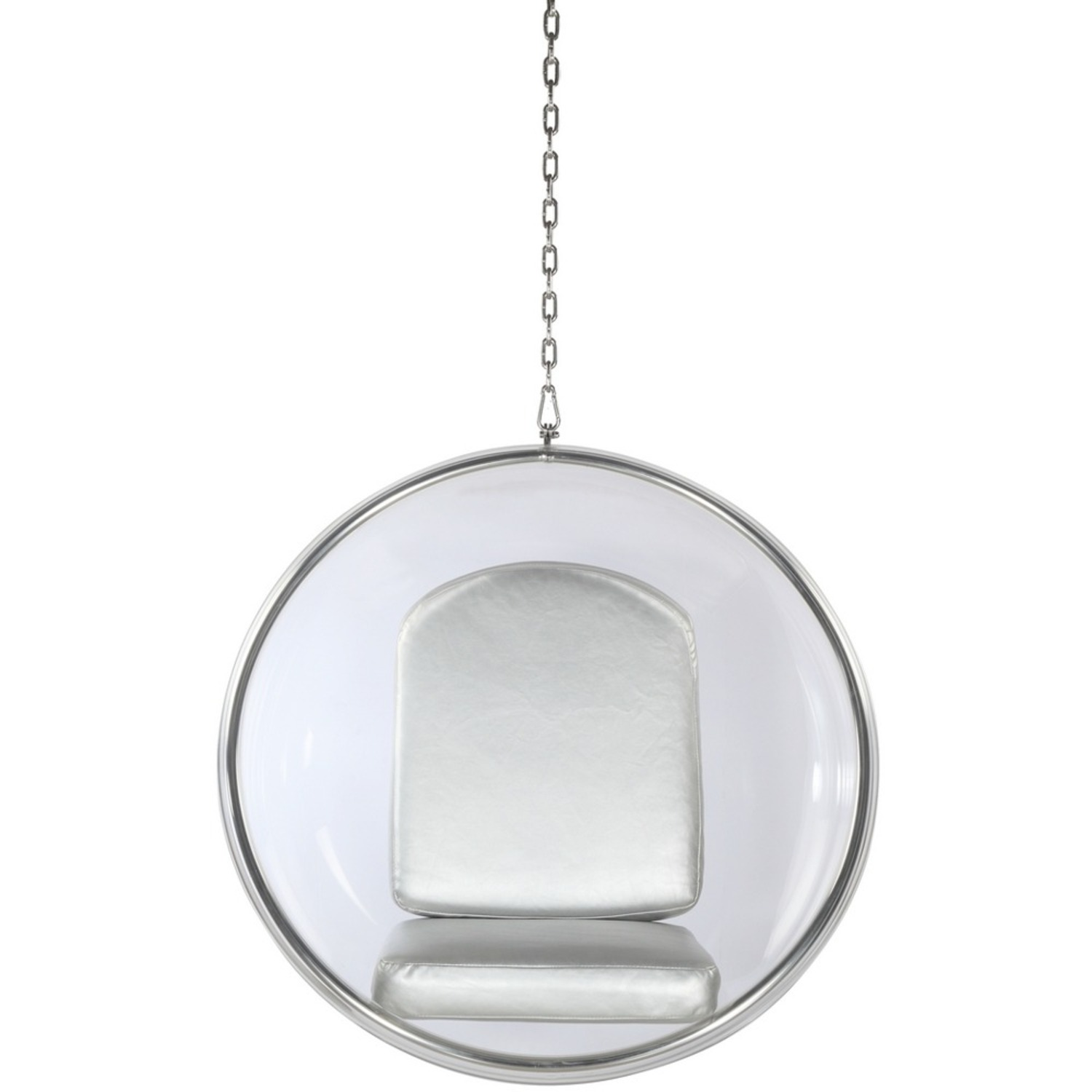 Hanging Chair In Clear Acrylic & Silver PU Leather - image-5