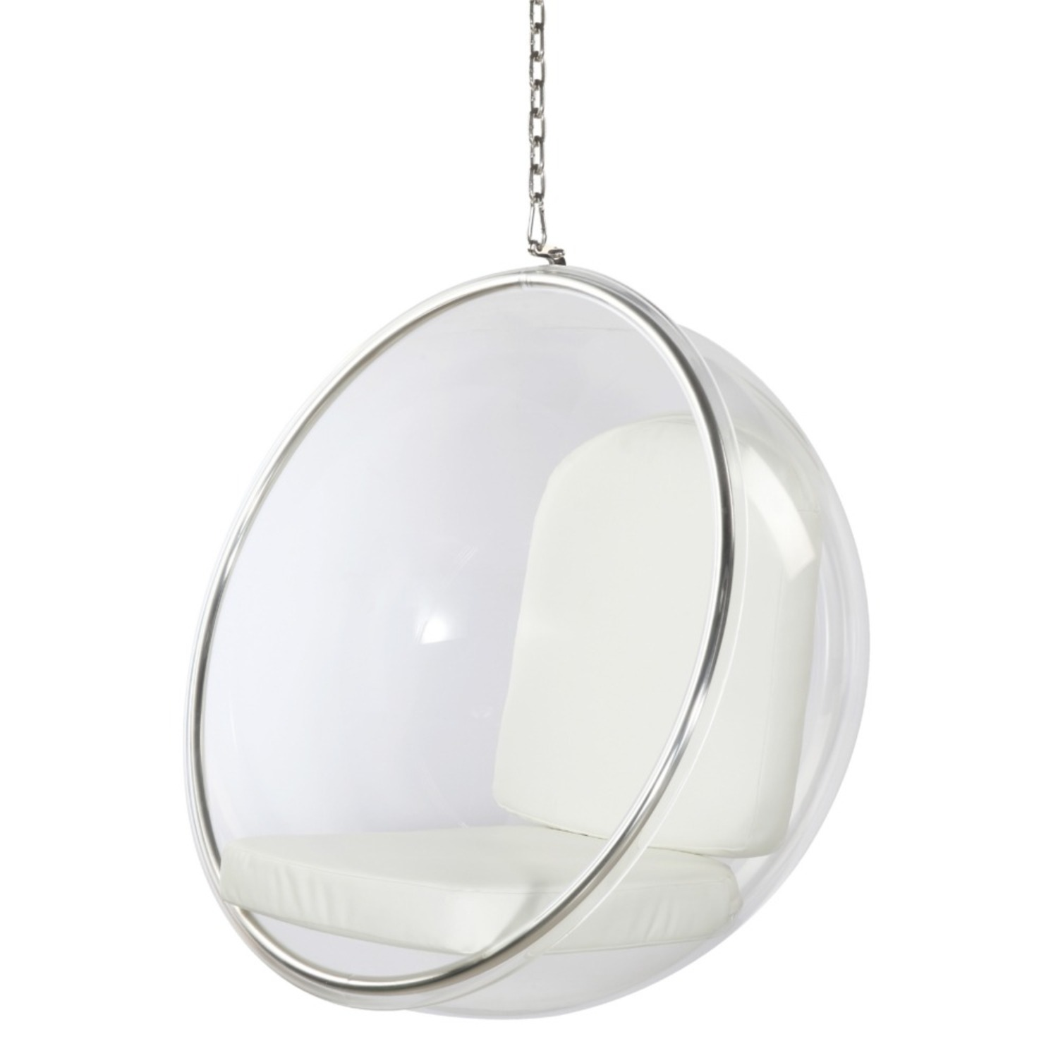 Hanging Chair In Clear Acrylic & White PU Leather - image-4