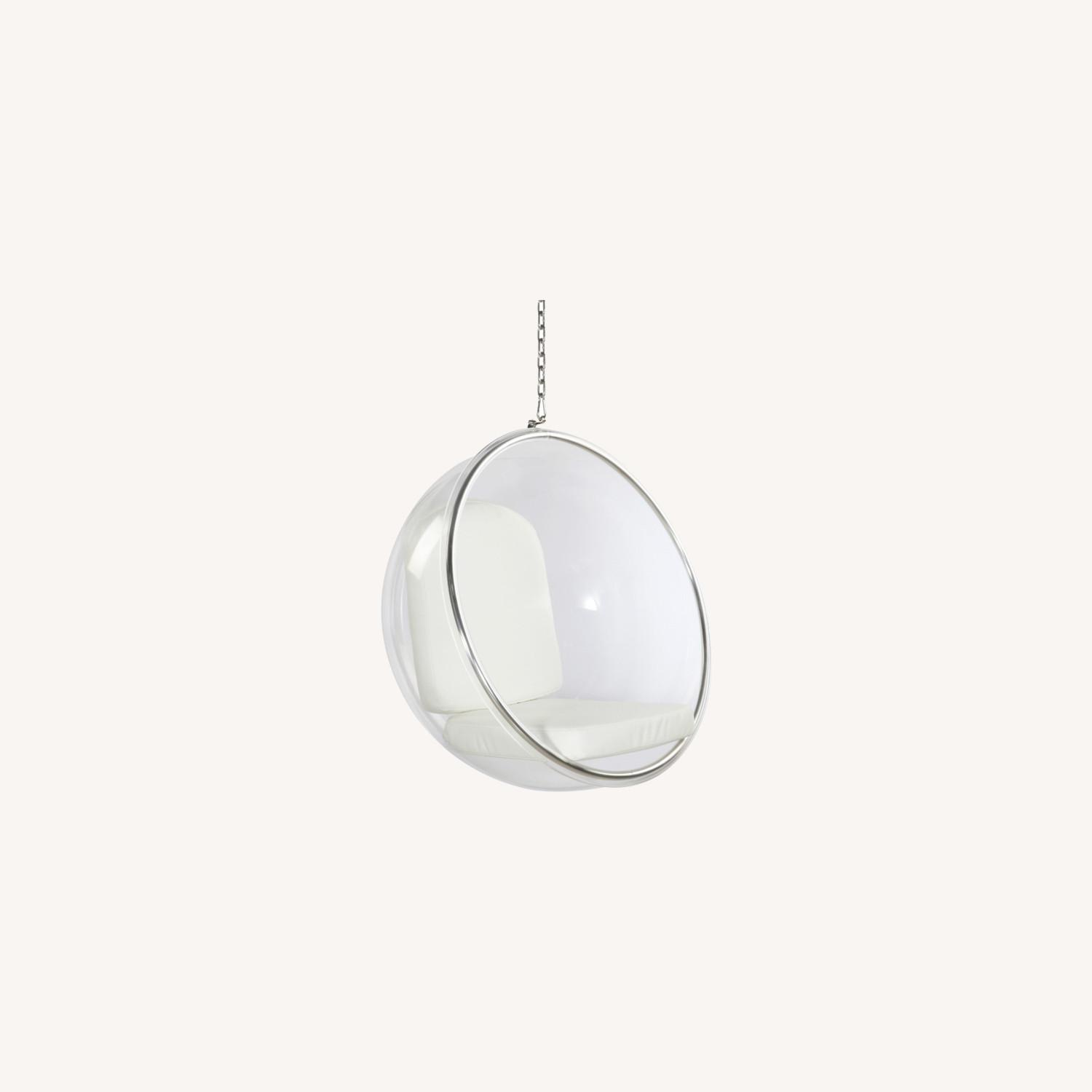 Hanging Chair In Clear Acrylic & White PU Leather - image-7