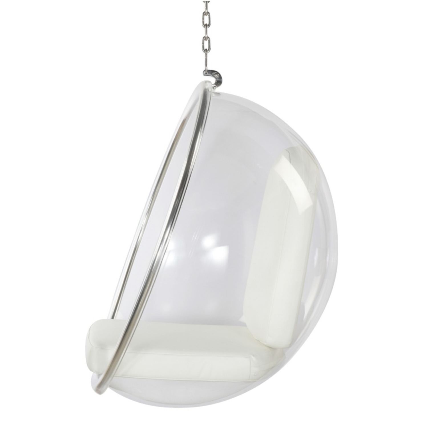 Hanging Chair In Clear Acrylic & White PU Leather - image-3