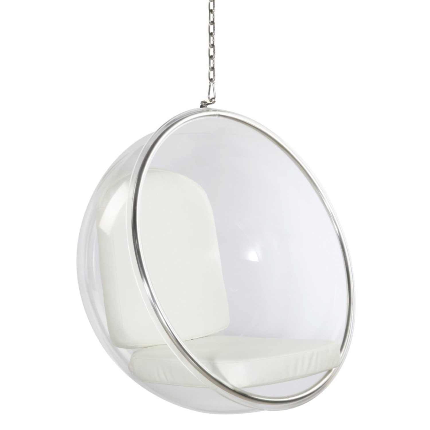Hanging Chair In Clear Acrylic & White PU Leather - image-0
