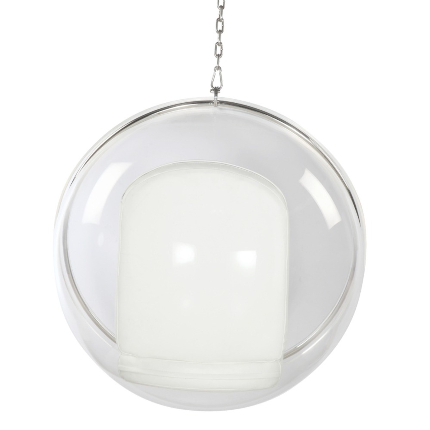Hanging Chair In Clear Acrylic & White PU Leather - image-2