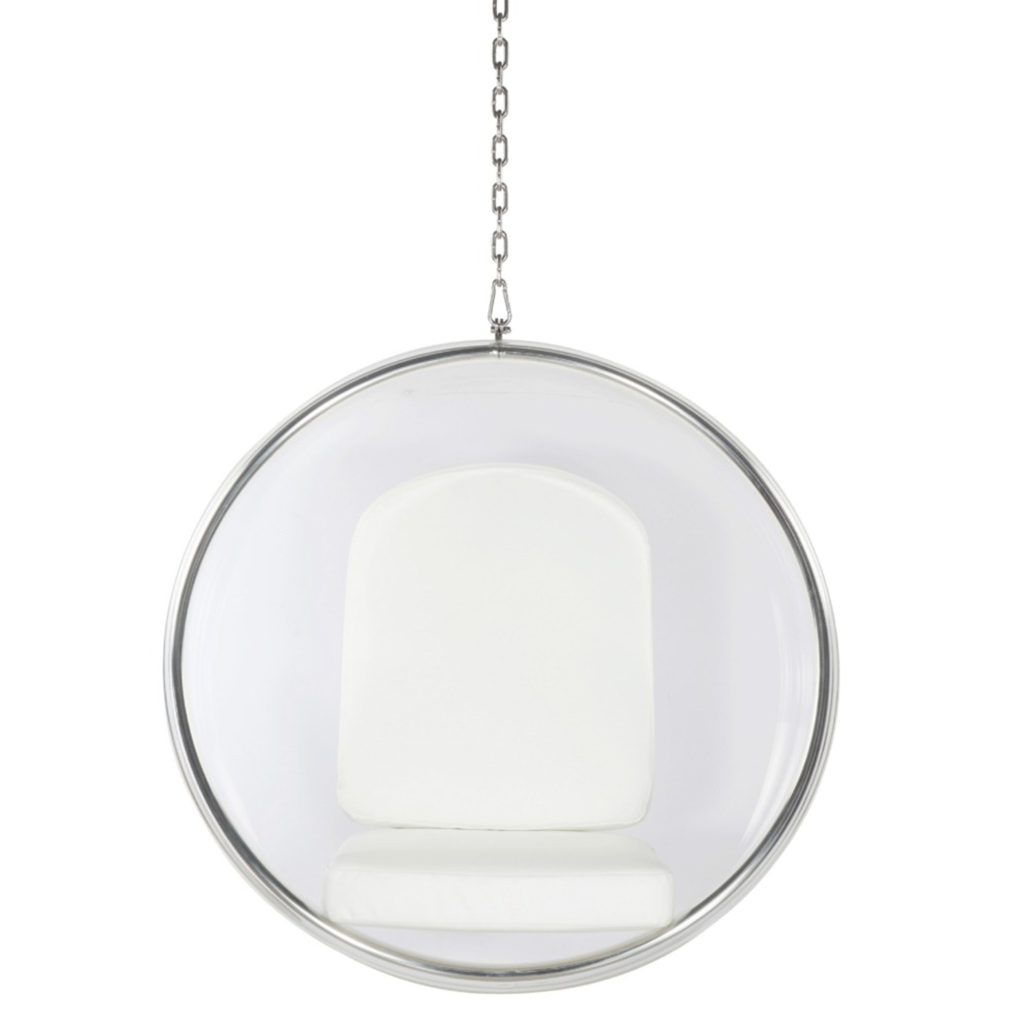 Hanging Chair In Clear Acrylic & White PU Leather - image-5