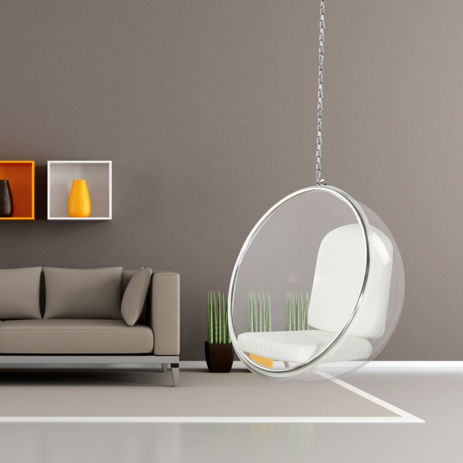 Hanging Chair In Clear Acrylic & White PU Leather - image-6