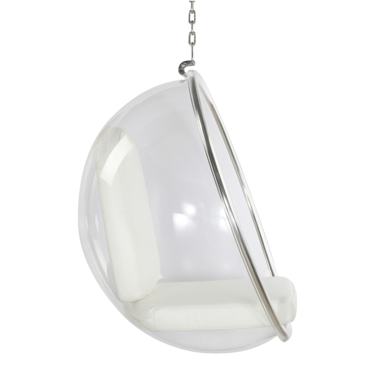 Hanging Chair In Clear Acrylic & White PU Leather - image-1